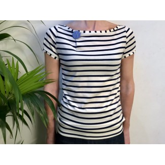 Striped Top With Badge