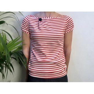 Red Striped Top With Badge