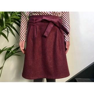 Burgundy woolen Blandine Skirt