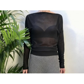 Black textured Bat Sleeved Top