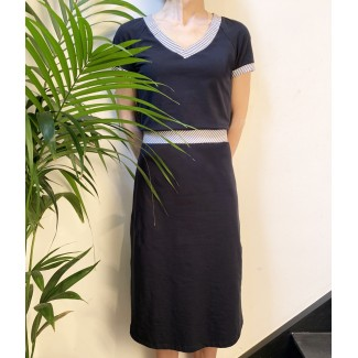 Navy dress striped V-neck...