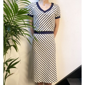 Navy striped jersey dress...