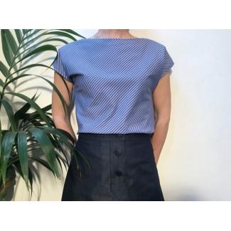 Blue Striped Agnès Top